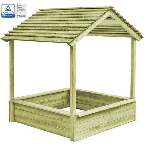 Hommoo Casa de juegos de jardín con cajón de arena madera de pino