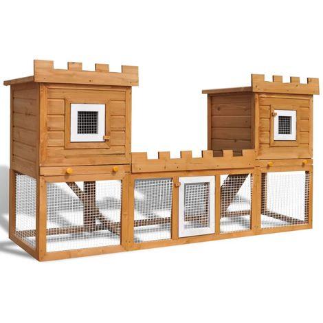 Hommoo Casa grande de animales jaula conejera doble jaula de madera