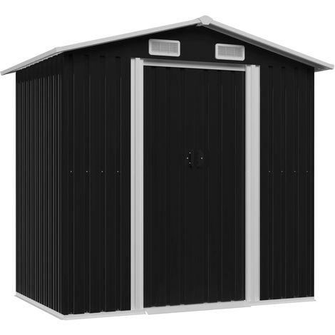 Hommoo Caseta de jardín de acero gris antracita 204x132x186 cm