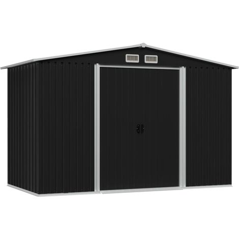 Hommoo Caseta de jardín de acero gris antracita 257x205x178 cm