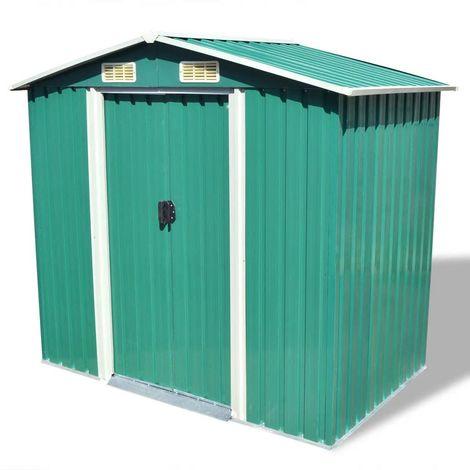 Hommoo Caseta de jardín de metal 204x132x186 cm verde