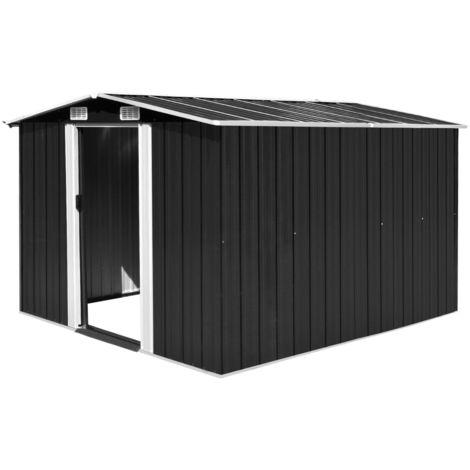 Hommoo Caseta de jardín de metal antracita 257x298x178 cm