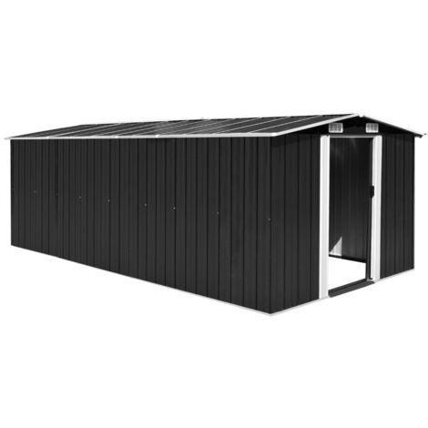 Hommoo Caseta de jardín de metal antracita 257x497x178 cm