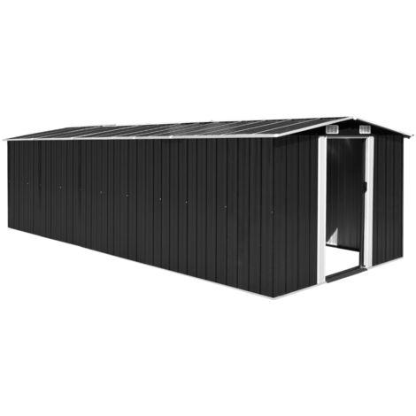 Hommoo Caseta de jardín de metal antracita 257x597x178 cm