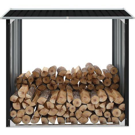 Hommoo Caseta de jardín para leña acero galvanizado gris 172x91x154 cm