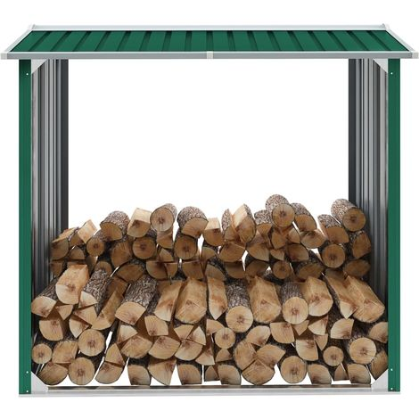 Hommoo Caseta de jardín para leña acero galvanizado verde 172x91x154cm