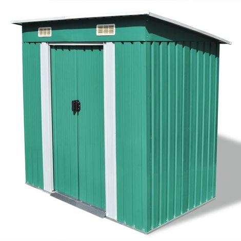 Hommoo Caseta de jardín verde metal
