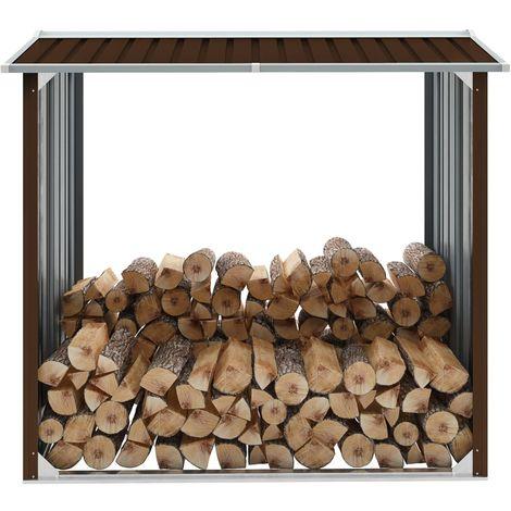 Hommoo Caseta jardín para leña acero galvanizado marrón 172x91x154 cm