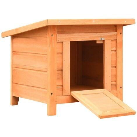 Hommoo Caseta para gatos madera maciza de pino y abeto 50x46x43,5 cm