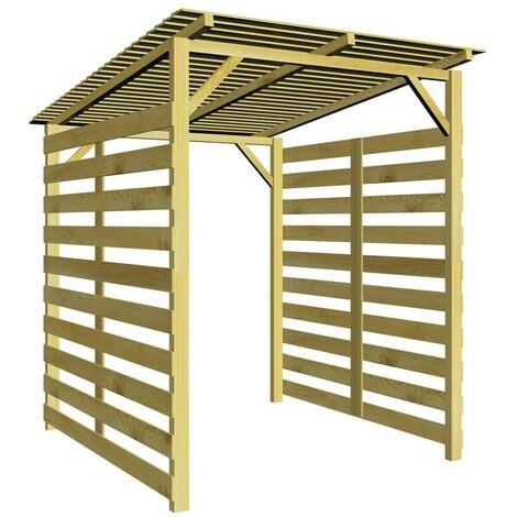 Hommoo Caseta para leña de madera de pino impregnada