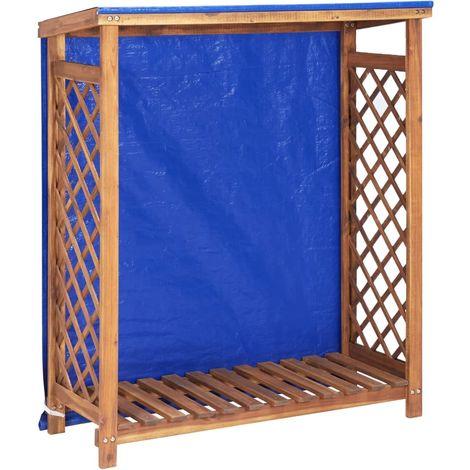 Hommoo Caseta para leña madera maciza de acacia 105x38x108 cm