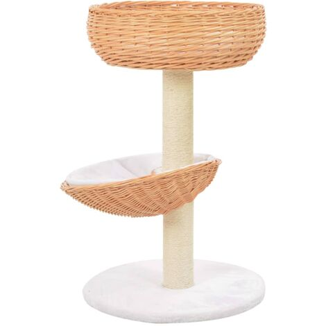 Hommoo Cat Tree with Sisal Scratching Post Natural Willow Wood QAH07279