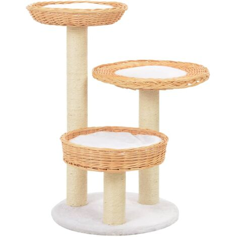 Hommoo Cat Tree with Sisal Scratching Post Natural Willow Wood QAH07280