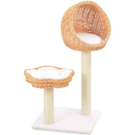 Hommoo Cat Tree with Sisal Scratching Post Natural Willow Wood QAH07281
