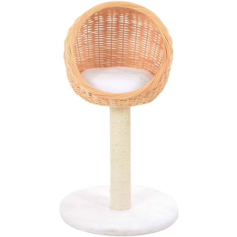 Hommoo Cat Tree with Sisal Scratching Post Natural Willow Wood QAH07282