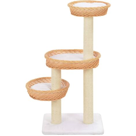 Hommoo Cat Tree with Sisal Scratching Post Natural Willow Wood QAH07283