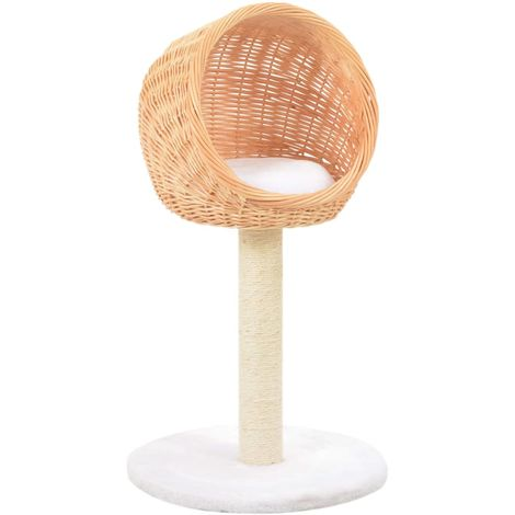 Hommoo Cat Tree with Sisal Scratching Post Natural Willow Wood VD07282