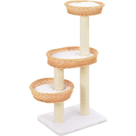 Hommoo Cat Tree with Sisal Scratching Post Natural Willow Wood VD07283