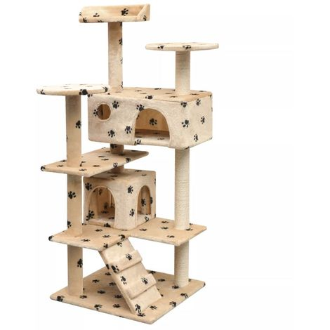 Hommoo Cat Tree with Sisal Scratching Posts 125 cm Paw Prints Beige
