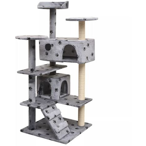 Hommoo Cat Tree with Sisal Scratching Posts 125 cm Paw Prints Grey