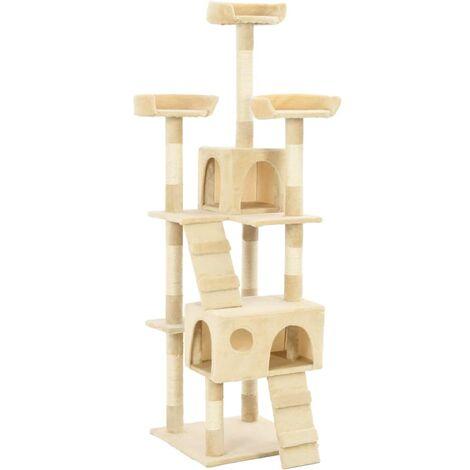 Hommoo Cat Tree with Sisal Scratching Posts 170 cm Beige QAH07170