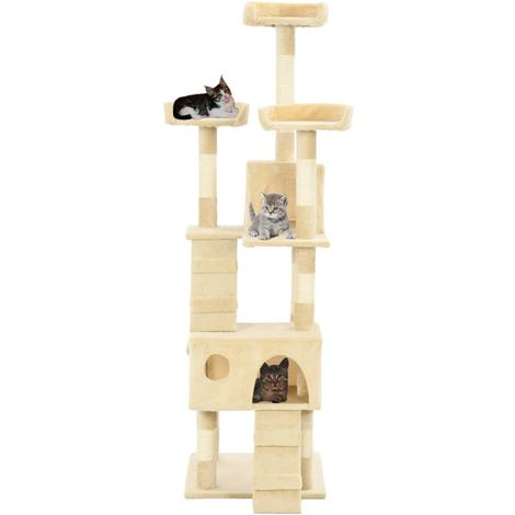 Hommoo Cat Tree with Sisal Scratching Posts 170 cm Beige VD07170