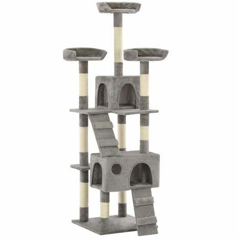 Hommoo Cat Tree with Sisal Scratching Posts 170 cm Grey QAH07168
