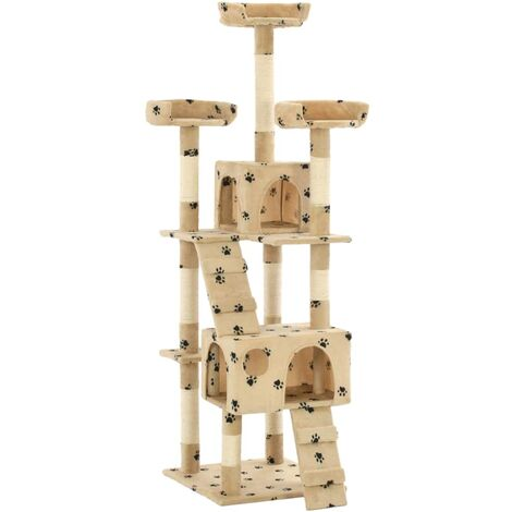 Hommoo Cat Tree with Sisal Scratching Posts 170 cm Paw Prints Beige QAH07171