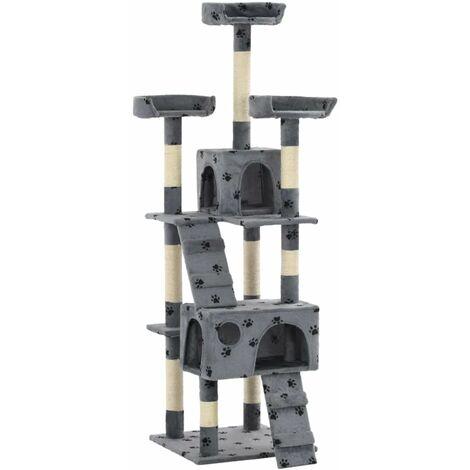 Hommoo Cat Tree with Sisal Scratching Posts 170 cm Paw Prints Grey QAH07169