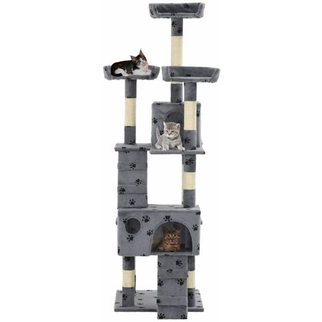 Hommoo Cat Tree with Sisal Scratching Posts 170 cm Paw Prints Grey VD07169