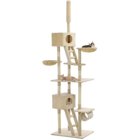 Hommoo Cat Tree with Sisal Scratching Posts 230-260 cm Beige