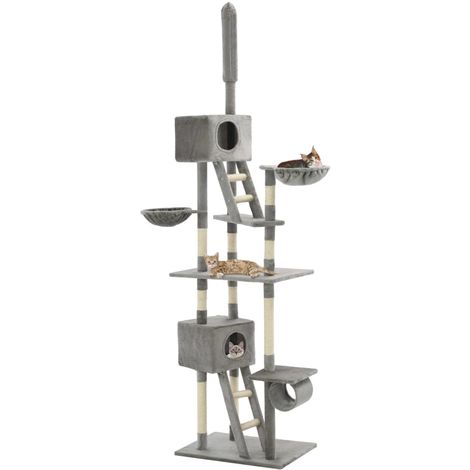 Hommoo Cat Tree with Sisal Scratching Posts 230-260 cm Grey