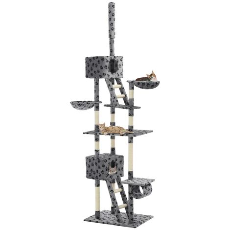Hommoo Cat Tree with Sisal Scratching Posts 230-260 cm Grey Paw Prints