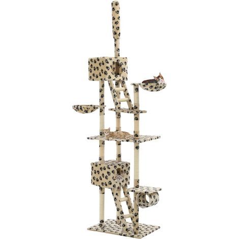 Hommoo Cat Tree with Sisal Scratching Posts 230-260cm Beige Paw Prints