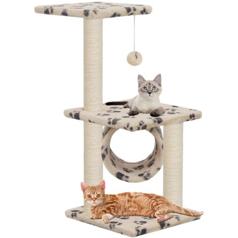 Hommoo Cat Tree with Sisal Scratching Posts 65 cm Beige Paw Print