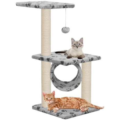 Hommoo Cat Tree with Sisal Scratching Posts 65 cm Grey Paw Print