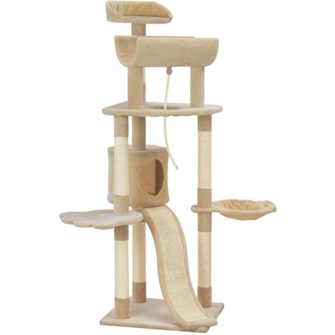 Hommoo Cat Tree with Sisal Scratching Posts Beige 145 cm