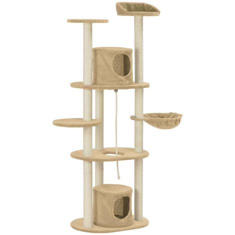 Hommoo Cat Tree with Sisal Scratching Posts Beige 160 cm