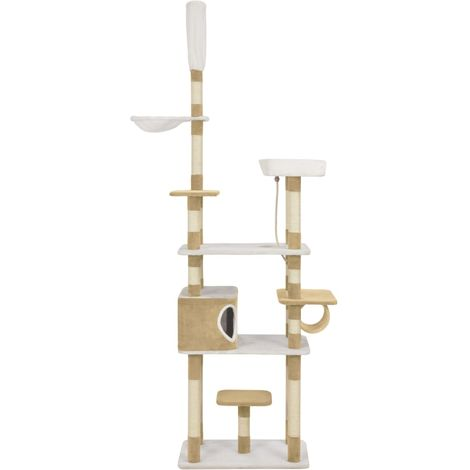 Hommoo Cat Tree with Sisal Scratching Posts Beige 235 cm