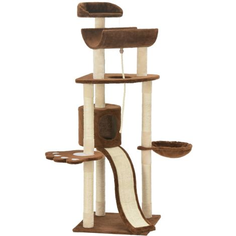 Hommoo Cat Tree with Sisal Scratching Posts Brown 145 cm