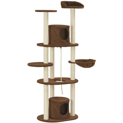Hommoo Cat Tree with Sisal Scratching Posts Brown 160 cm