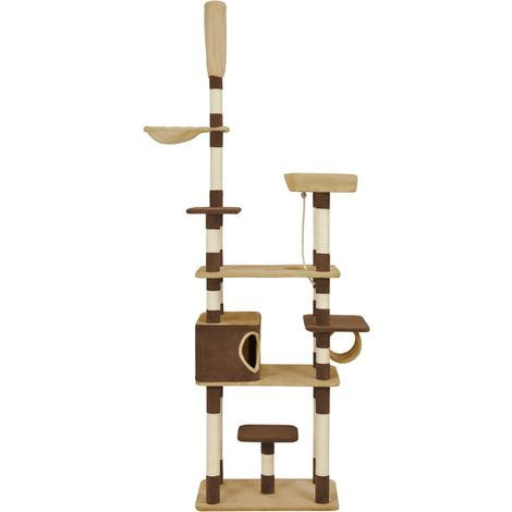 Hommoo Cat Tree with Sisal Scratching Posts Brown 235 cm