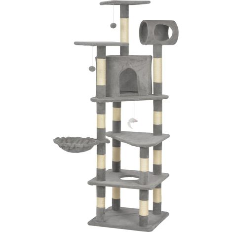 Hommoo Cat Tree with Sisal Scratching Posts Grey 165 cm