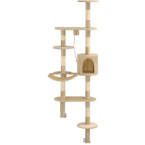 Hommoo Cat Tree with Sisal Scratching Posts Wall Mounted 194 cm Beige QAH07144