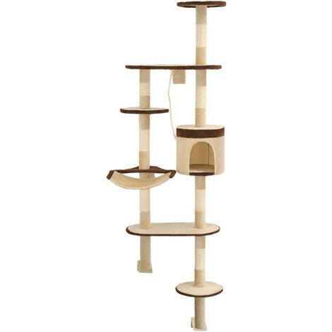 Hommoo Cat Tree with Sisal Scratching Posts Wall Mounted 194 cm QAH07145