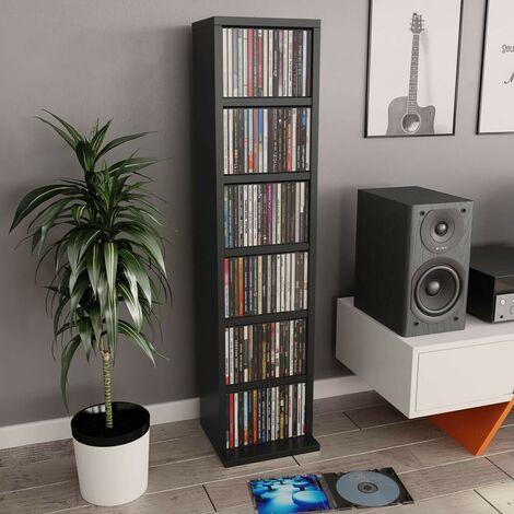 Hommoo CD Cabinet Black 21x16x88 cm Chipboard