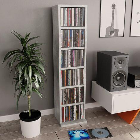 Hommoo CD Cabinet Concrete Grey 21x16x88 cm Chipboard