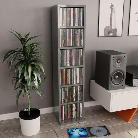 Hommoo CD Cabinet High Gloss Grey 21x16x88 cm Chipboard