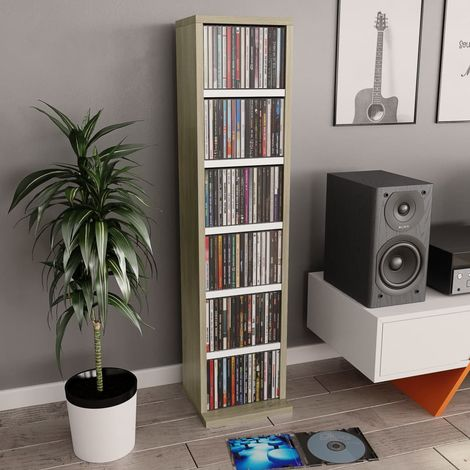 Hommoo CD Cabinet White and Sonoma Oak 21x16x88 cm Chipboard VD31385
