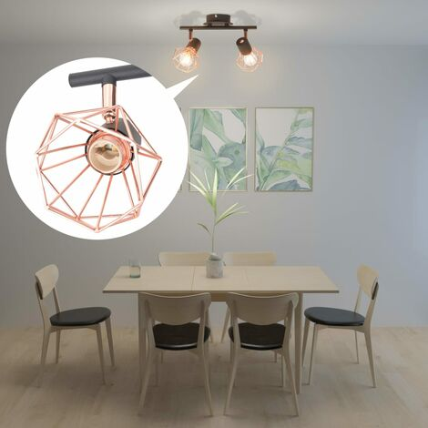 Hommoo Ceiling Lamp with 2 Spotlights E14 Black and Copper QAH10498